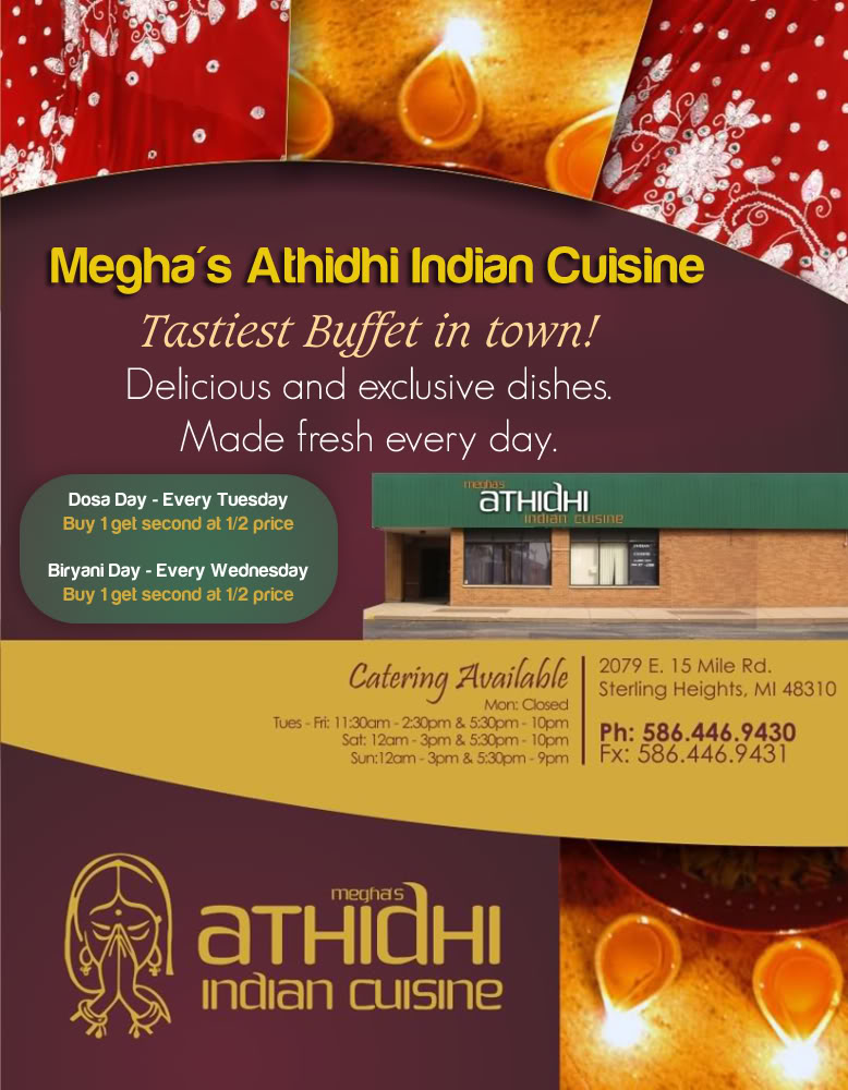 Meghas athidhi indian cuisine detroit india for Athidhi indian cuisine sterling heights