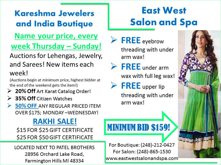 Name your own price sale at kareshma jewelers and india for 56 west boutique and salon